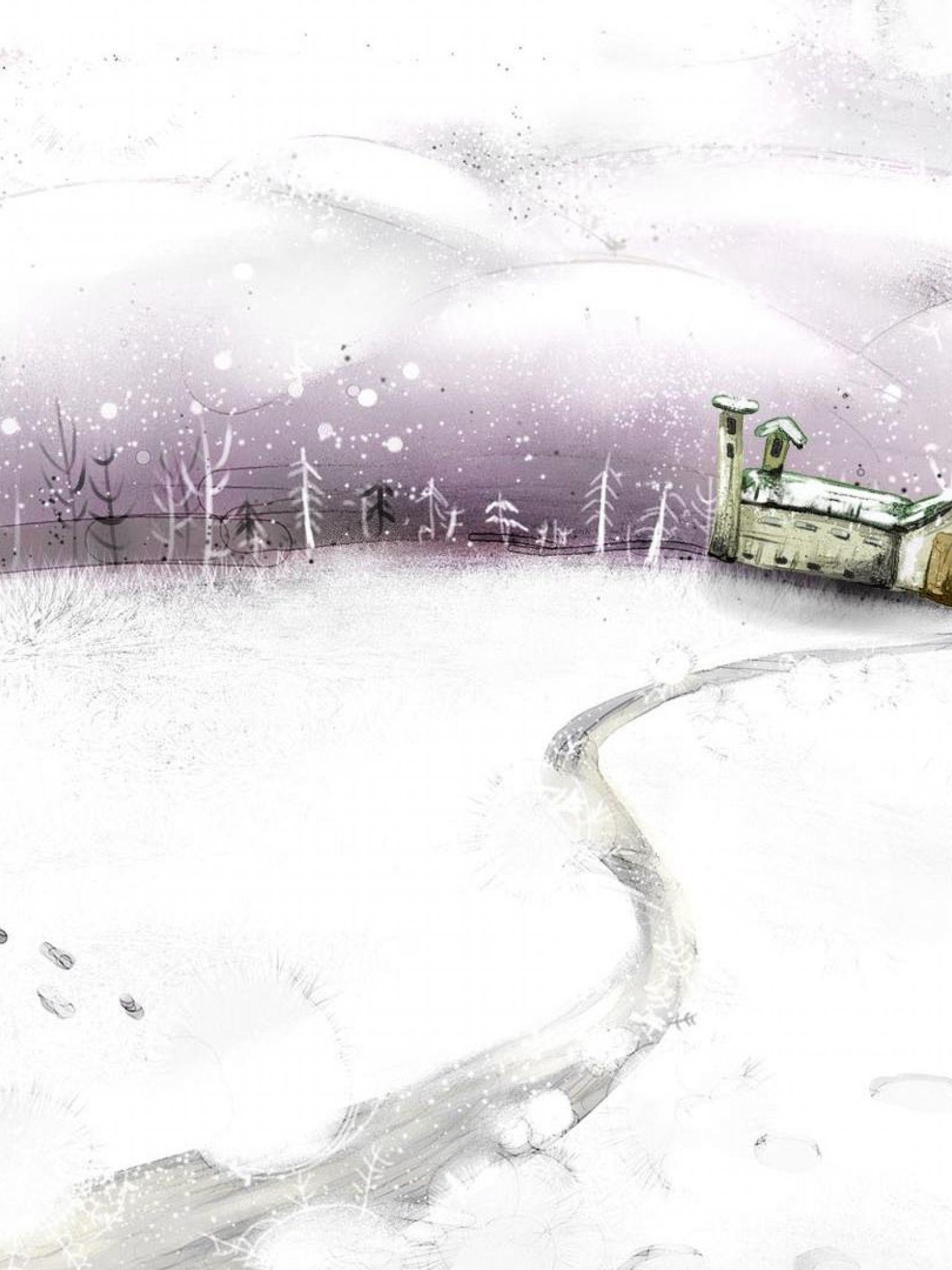 Зима рисунки снеговик 5